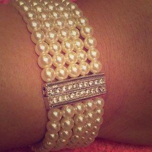 Ivory Five Strand Bracelets W/Sworaski Crystals